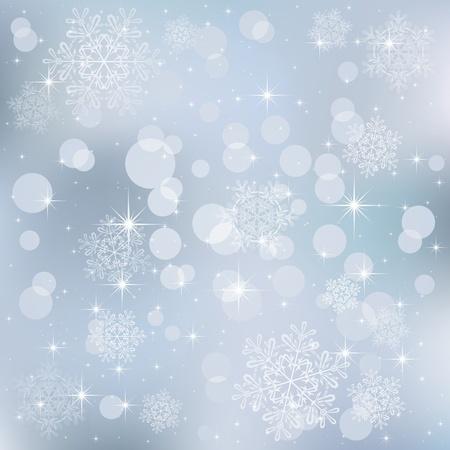 blurry lights: Sfondo astratto, con le stelle, fiocchi di neve e le luci sfocate, illustrazione