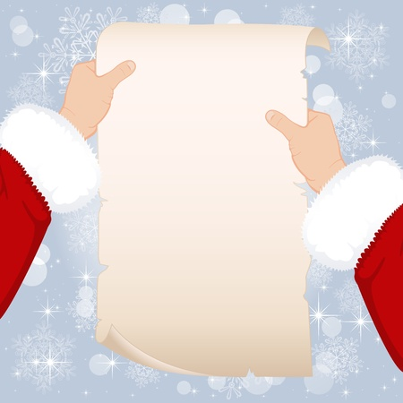 new year scroll: White paper in hands of Santa, illustration