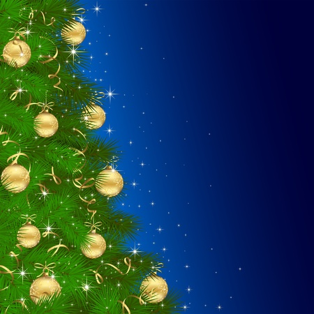 Background with Christmas tree and golden baubles, illustration Vector