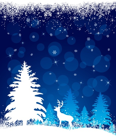 Silhouette of a deer on a winter forest background, illustration Vector