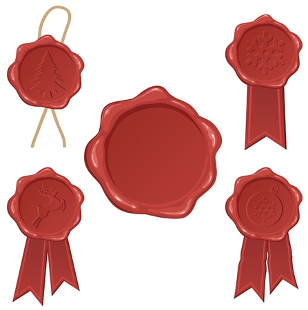Wax seals collection, illustration Stock Vector - 11640080