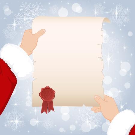 White paper in hands of Santa, illustration Stock Vector - 11640081