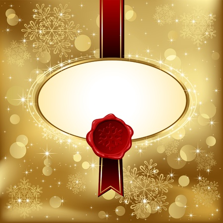 red wax seal: Background with bow, stars and blurry light, illustration