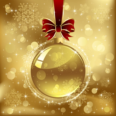 Glass Christmas bauble with bow and ribbon, stars and blurry light, illustration Vector