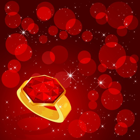 ruby: Ring with a ruby on red background, illustration