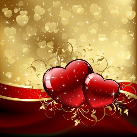glitter glow: Background with red Hearts, illustration
