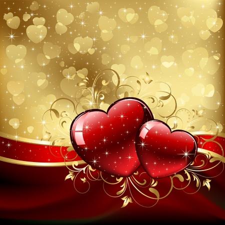 red swirl: Sfondo con cuori rossi, illustrazione