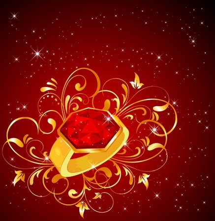 ruby stone: Ring with floral elements on red background, illustration