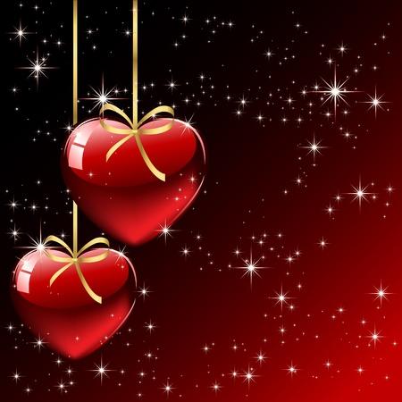 st valentins day: Sfondo con cuori rossi, illustrazione