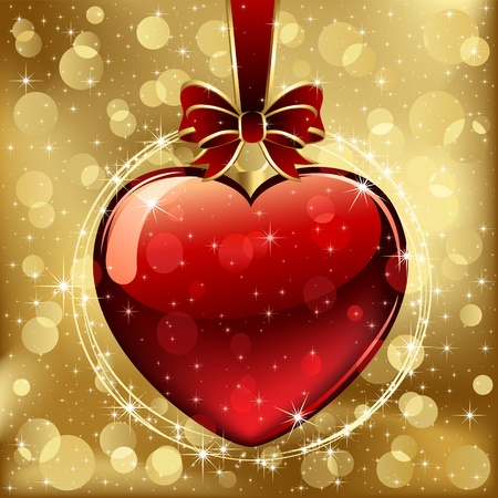 golden heart: Background with red Hearts, illustration