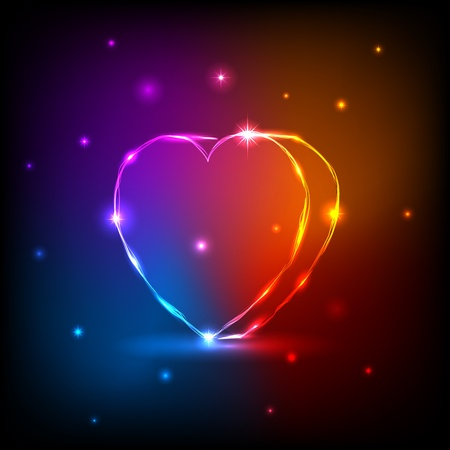 Background with neon Heart, illustration.  This is EPS10 file. All the effects are created with gradient mesh and transparency. Stock Vector - 12008524