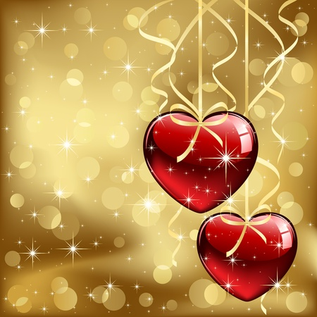 Glass Valentines Hearts with tinsel, stars and blurry light, illustration Vector