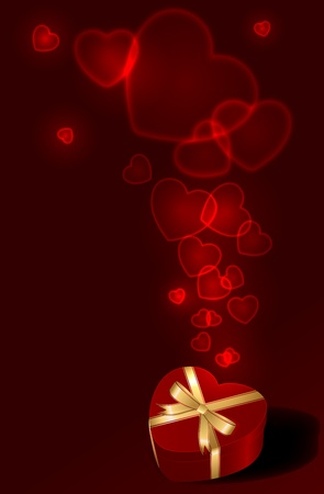Valentines Day background with gift box and Hearts, illustration Stock Vector - 12045551