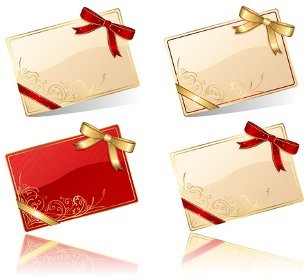 Gift cards with red and golden bow, illustration Vector