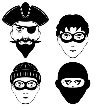 filibuster: Set di persone criminali, illustrazione Vettoriali
