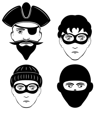 delinquent: Set of criminals persons, illustration