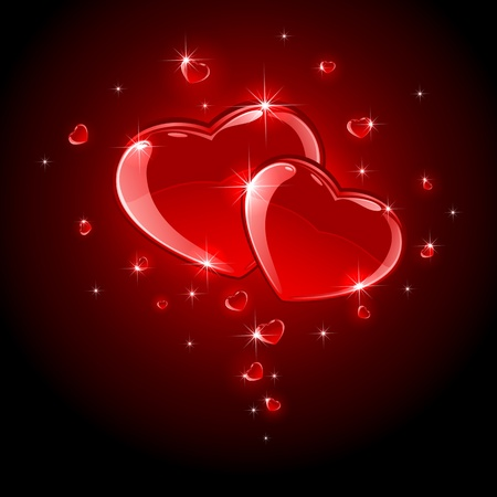 scintillation: Valentines background with Hearts, illustration