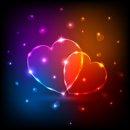 Background with shiny neon Hearts, illustration.  Vector
