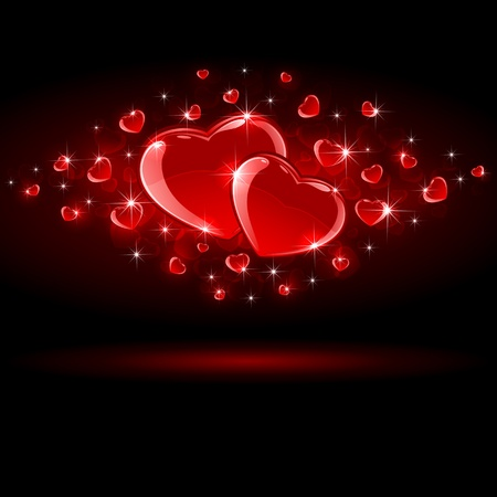 Valentines background with Hearts, illustration  Vector