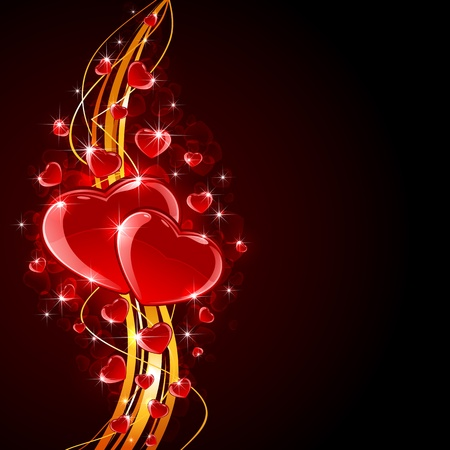 glitter heart: Valentines background with shiny hearts and golden lines, illustration