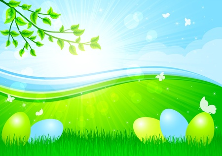 Easter eggs siting in the grass against a Sunburst, illustration Vector