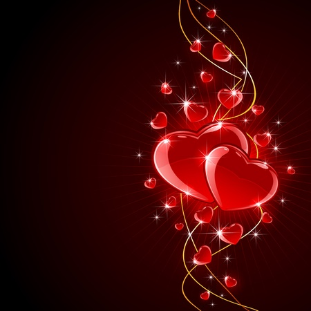 Valentines background with shiny hearts and golden lines, illustration  Vector