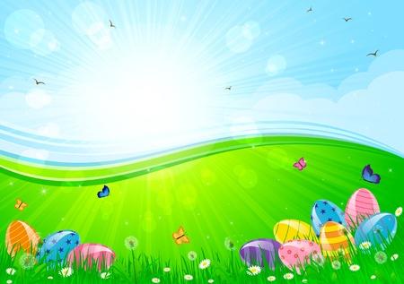 Easter eggs in the grass against a Sunburst, illustration Vector