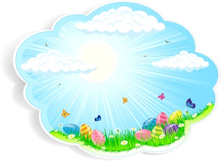 Easter card with the Eggs in the grass, illustration Vector