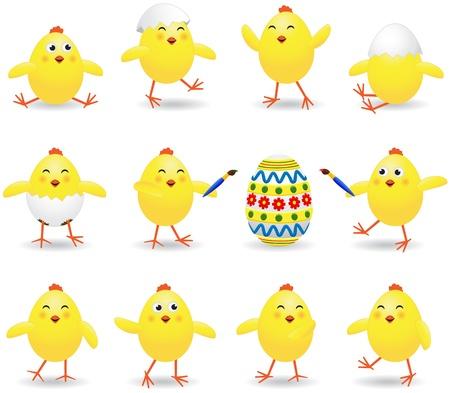 Set di polli Pasqua divertenti su sfondo bianco, illustrazione Vettoriali