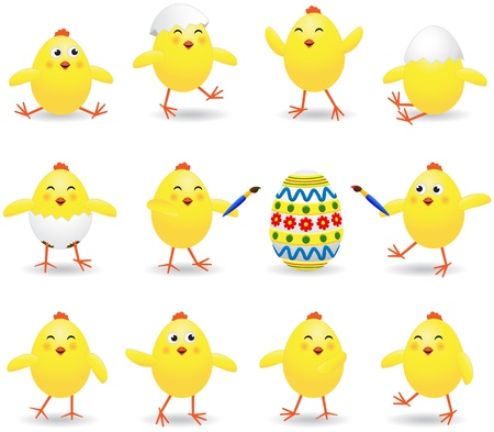 Set of amusing Easter chickens on white background, illustration Stock Vector - 12445830