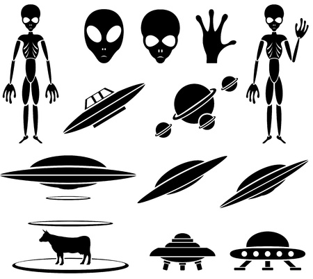 abduction: Set of black Alien icons on white background, illustration