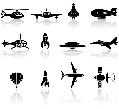space shuttle: Set of black flying icons on white background, illustration