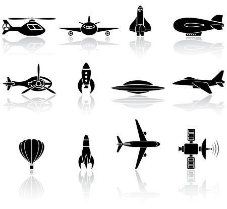 orbital station: Set of black flying icons on white background, illustration