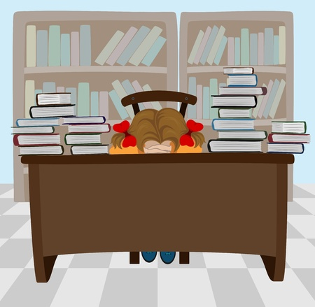 study desk: The sleeping girl with books, illustration