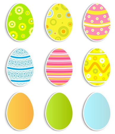 Collection of nine Easter eggs, illustration Vector