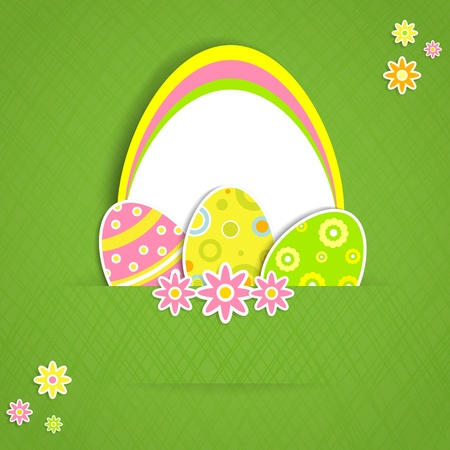 Paper card with Easter eggs, illustration  Vector