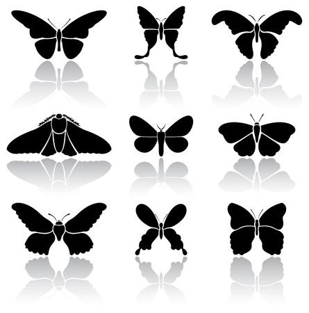 Paar schwarze Schmetterlinge Symbole auf weißem Hintergrund, Illustration