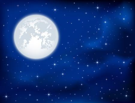 Fondo de la noche, las estrellas brillantes y la Luna en el cielo de color azul oscuro, ilustración