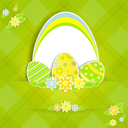 cartoon easter: Paper card with Easter eggs and flowers, illustration