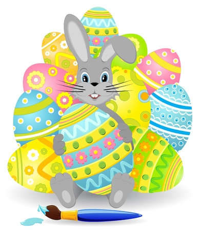 Amusing rabbit with a set of Easter eggs, illustration Vector