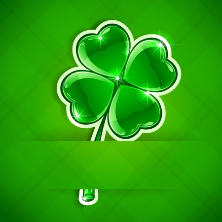 Paper card with four-leaf a clover, illustration  Vector