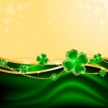 four leaf clovers: Background of St  Patrick s Day with four-leaf a clover, illustration  Illustration