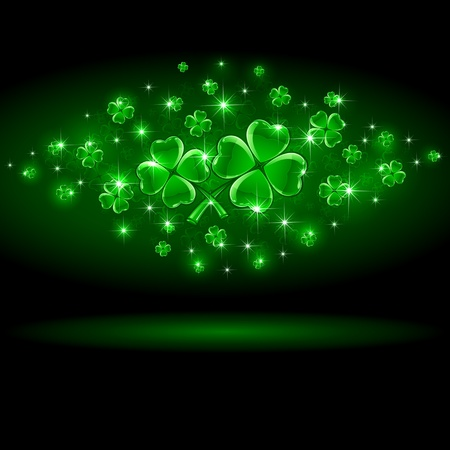 Background of St  Patrick s Day with four-leaf a clover, illustration Stock Vector - 12445878
