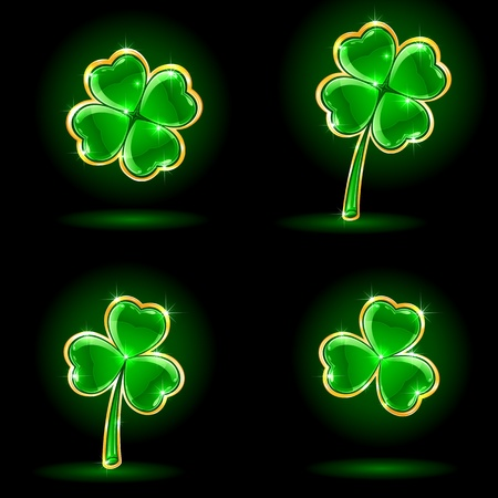 four fourleaf: Set di quattro foglie decorative di un'illustrazione trifoglio, Vettoriali
