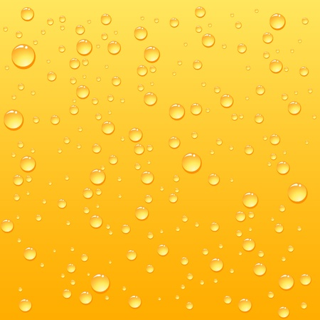 Yellow drops on drink background, illustration Vector