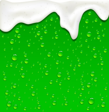 beer background: Drops on Green Beer background, illustration