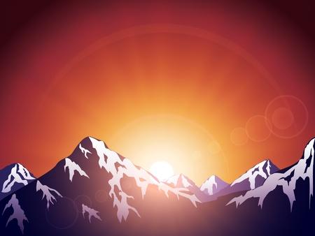 Las montañas en el sol de fondo