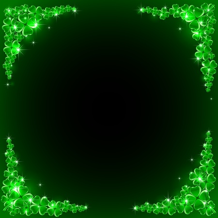 patrick's: Background of St  Patrick s Day with four-leaf a clover, illustration  Illustration