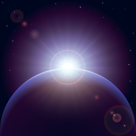 Space background with planet and shining sun, illustration. Vector