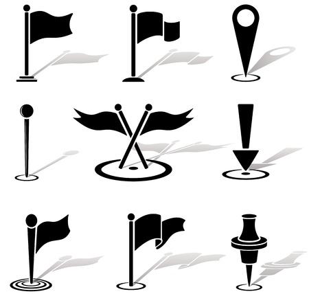 flag pin: Set of black labels icons, illustration Illustration